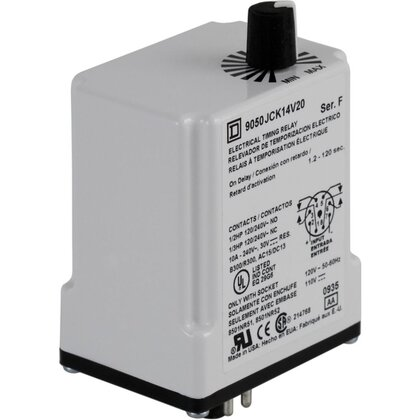 Relay, Timer, 10A, 240VAC, 12VDC Coil, 8 Pin, 2PDT, On-Delay *** Discontinued ***