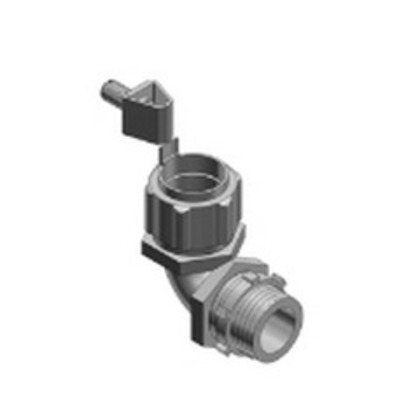 """Liquidtight Grounding Connector, 90°, 1/2"""", Insulated, Malleable"""