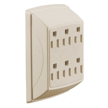 TAP, DUPLEX TO 6 OUTLET, 15A 125V, IVORY
