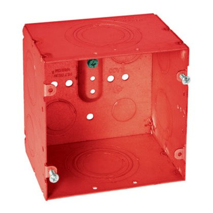 """4-11/16"""" Square Fire Alarm Box, Welded, Depth: 3-1/4"""", Red"""