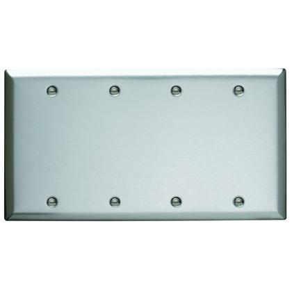 WALLPLATE, 4-G, BLANK, SS, BOX