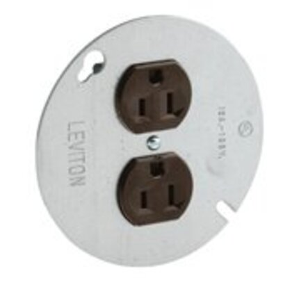 """15 Amp Duplex Receptacle on 4"""" Cover, 125V, 5-15R, Side Wired"""