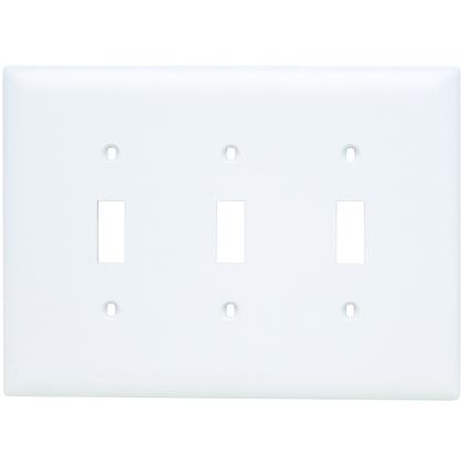 Toggle Switch Wall Plate, 3-Gang, Nylon, White, Jumbo