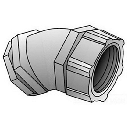 "Liquidtight Connector, 45°, Size: 2-1/2"", Malleable Iron"