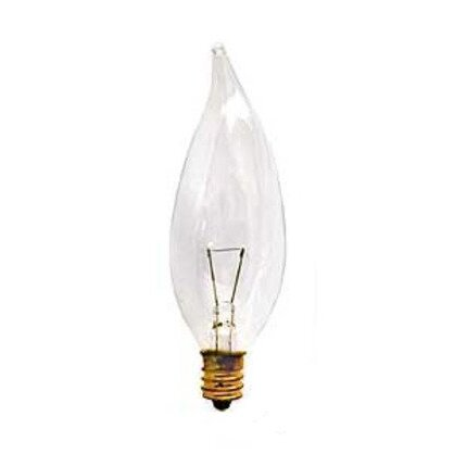 Incandescent Lamp, Flame Tip, 40W, 130V, Clear