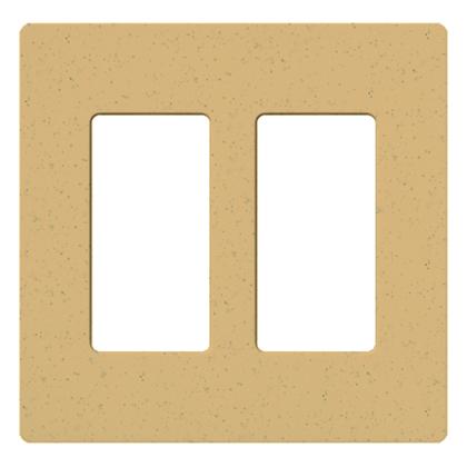 Dimmer/Fan Control Wallplate, 2-Gang, Satin Series, Goldstone Finish