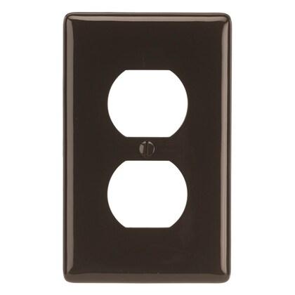 Duplex Receptacle Wallplate, 1-Gang, Nylon, Brown