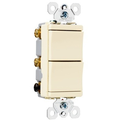 Decora Switch, (2) 1-Pole, 15A, Ivory *** Discontinued ***