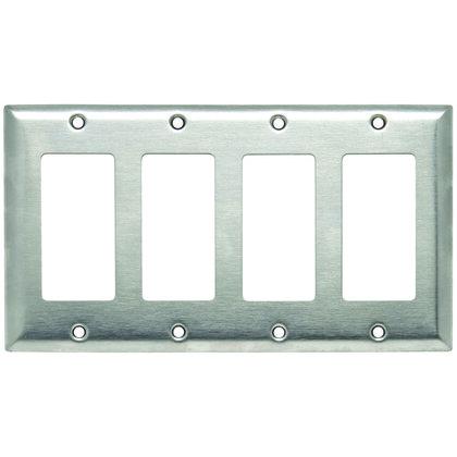 Decora Wallplate, 4-Gang, Stainless Steel