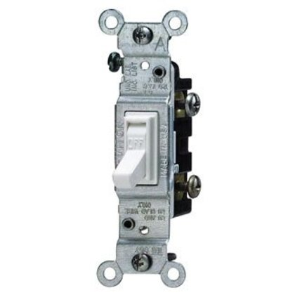 Single-Pole Toggle Switch, 15A, 120VAC, Residential, White