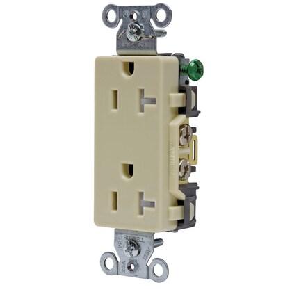 Tamper-Resistant Decorator Duplex Receptacle, 20A, 125V, Ivory