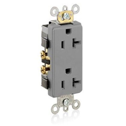 20A Decora Duplex Receptacle, 125V, 5-20R, Gray, Side Wired, Spec