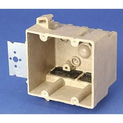 """Switch/Outlet Box with Bracket, 2-Gang, Depth: 3"""", Non-Metallic"""