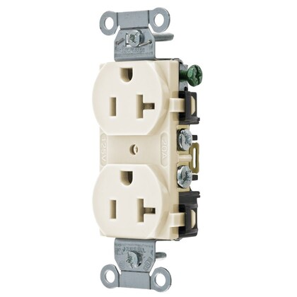 Duplex Receptacle, 20A, 125V, Light Almond, Commercial/Industrial