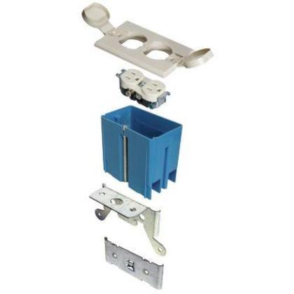 Adjustable Floor Box, Duplex, 1-Gang, Ivory