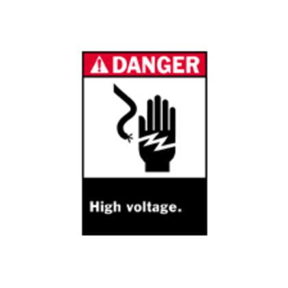 B302 10X7 ANSI BLK,RED/WHT HIGH VOLTAGE
