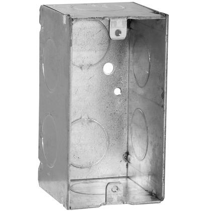 "Handy Box, 2-1/8"" Deep, 3/4"" KOs, Welded, Metallic"