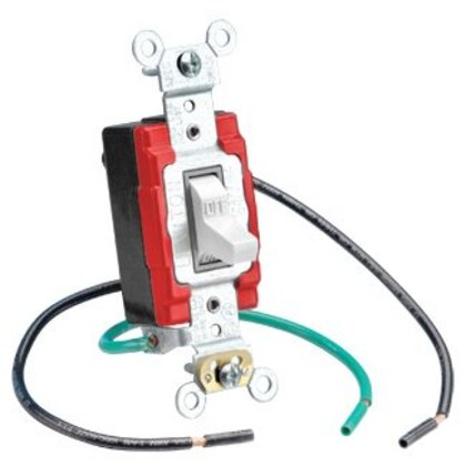 """3-Way Toggle Switch with 6"""" Lead, 20A, 120/277V, White, Industrial"""