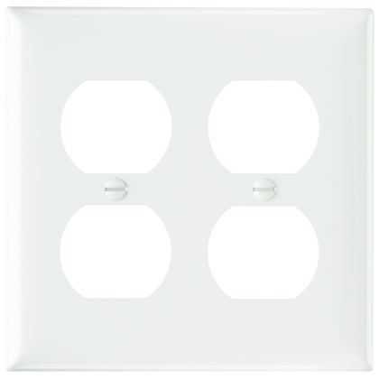 PLATE PLASTIC 2G 2DUP W/OUT LINE WH