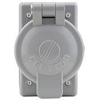 1-Gang, 50 Amp Receptacle Flip Lid Cover, Gray