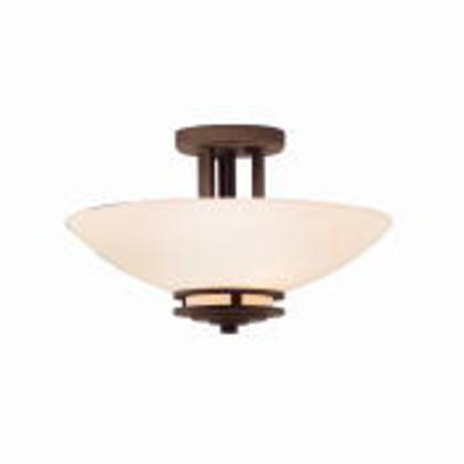 2 Bulb Semi Flush Ceiling Light, 60W, 120V, Bronze Finish