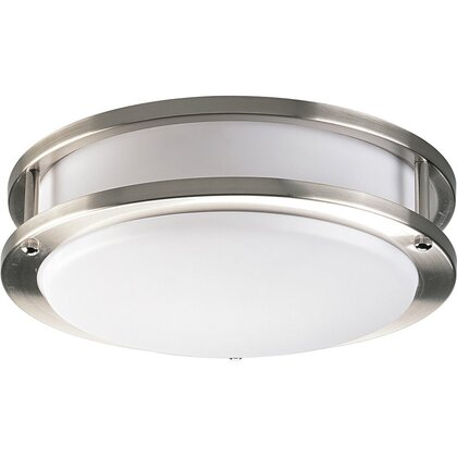 Close to Ceiling Light, 1 Light, 22W, Brushed Nickel