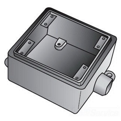FD 2 GANG CAST BOX 1/2 IN HUB