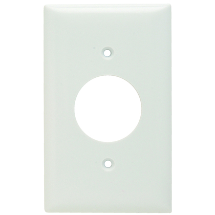 Single Receptacle Wall Plate, 1-Gang, Thermoset, Standard, White