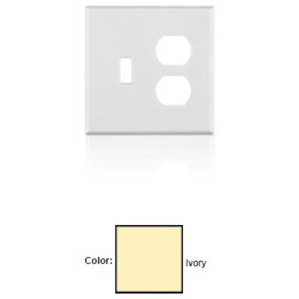 Duplex Receptacle Wallplate, 1-Gang, Plastic, Ivory, Midway *** Discontinued ***