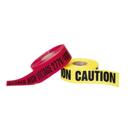 "Barricade Tape, ""Caution"", Yellow, 3"" x 1,000'"