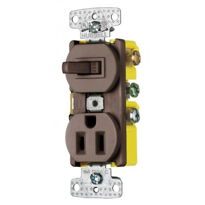 COMBO, 15A SP TOG, 15A 125V RCPT, BR