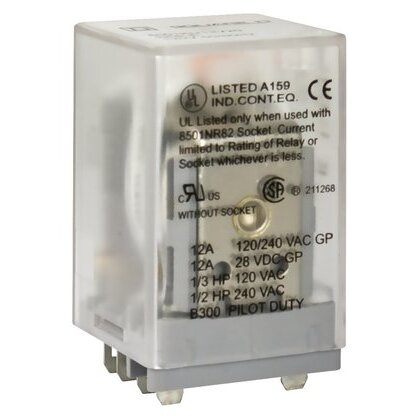 Relay, Ice Cube, 10A, 2PDT, 8-Blade, 12VDC Coil, No Options *** Discontinued ***