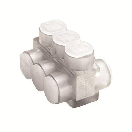 Multi-Tap Connector, 4-Port, Clear, Insulated, 4 AWG - 600 MCM, 2-Sided