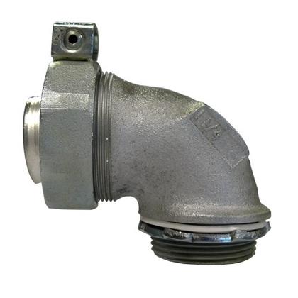 "Liquidtight Grounding Connector, 3"", 90°, Insulated, Steel/Zinc"