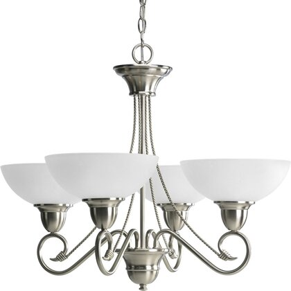 Chandelier, 4-Light, 100W, Brushed Nickel *** Discontinued ***