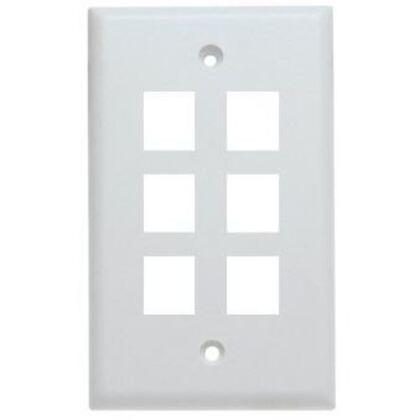 Wallplate, 6-Port, 1-Gang, Keystone, Rear Load, Flush, White
