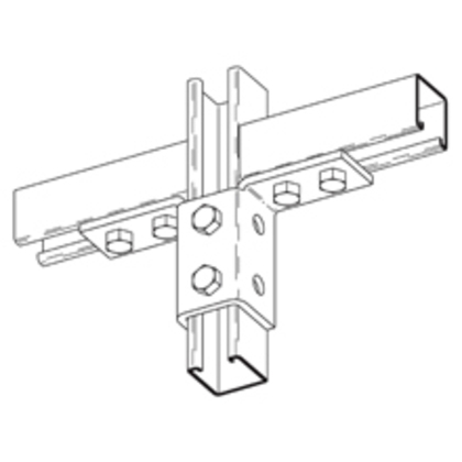 Double Wing Connection Fitting, 10-Hole, Steel/Zinc