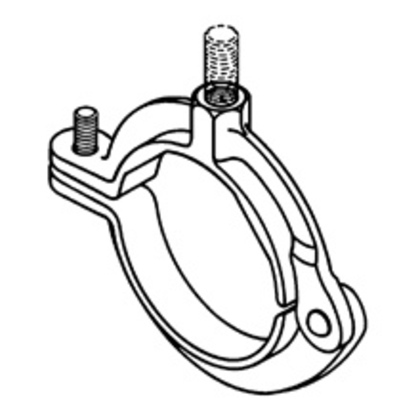 HINGED EXTENSION SPLIT PIPE CLAMP 1/2IN 3/8IN-16 ZINC PLATED