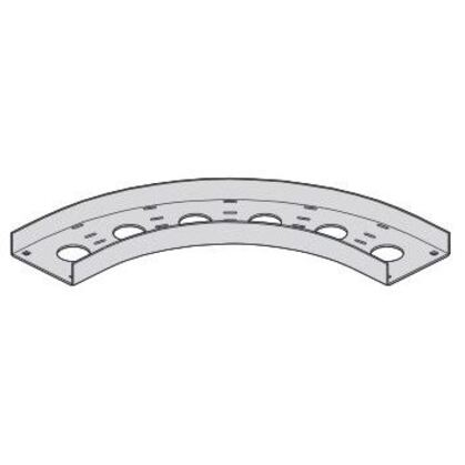 """Channel Cable Tray 90° Horizontal Bend, 12"""" Radius, 4"""" Wide, Aluminum"""