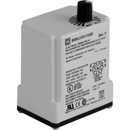 Relay, Timer, 10A, 240VAC, 12VDC Coil, 8 Pin, 2PDT, On-Delay