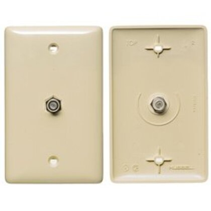 PLATE, 1GANG,W/F-CONNECTOR,WH
