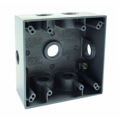Weatherproof Outlet Box, 2-Gang, Die Cast