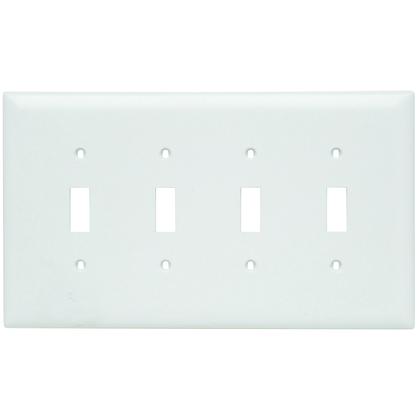 Toggle Switch Wall Plate, 4-Gang, Nylon, White, Jumbo
