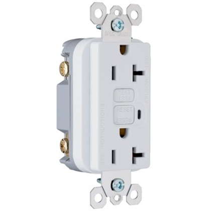 GFCI Receptacle, 20A, 125V, White *** Discontinued ***