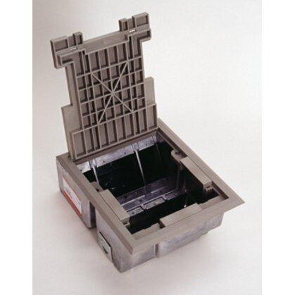 "Floor Box, Rectangular, (4) Compartment, Depth: 5"", 1/2 & 3/4"" KOs"