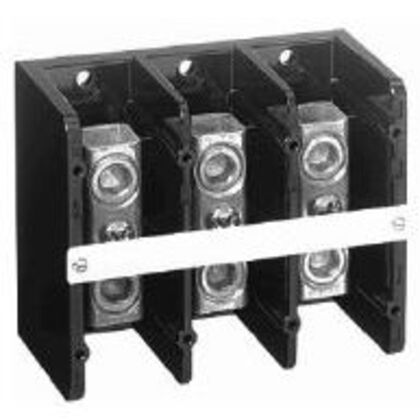 Distribution Block, 255A, 600V AC/DC, 3P, Copper, 3 In/3 Out