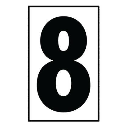 """Address Light Number Tile, #8, White Plastic, 5"""""""