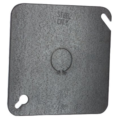 """4-11/16"""" Square Cover, Flat, 1/2"""" Knockout in Center"""