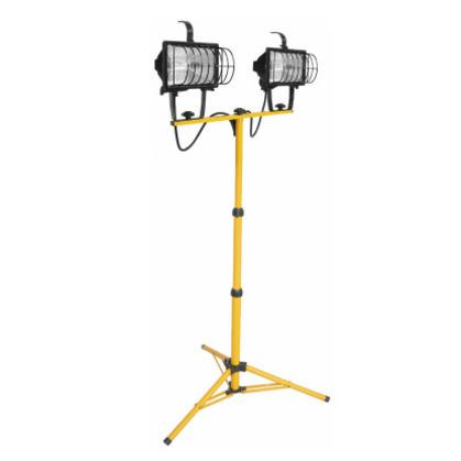 Tripod Stand Worklight, Quartz Halogen, 2-Light, 500W, 120V