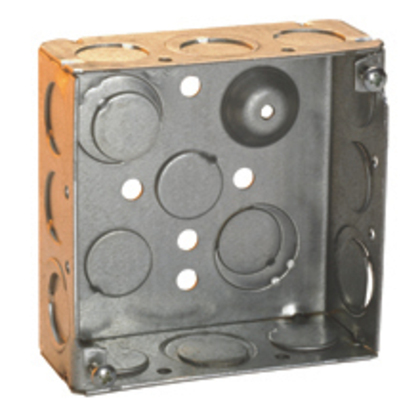 """4"""" Square Box, Welded, 2-1/8"""" Deep, 1/2 & 3/4"""" Knockouts, Steel"""